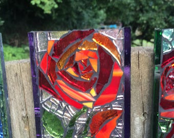 Glass Mosaic Tile - Red Rose & Bud