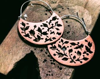 Hand Pierced Copper Hoops