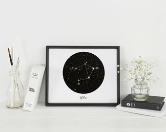 Framed Libra Star Sign Wall Art | Libra Constellation | Astrology Gift | Personalised Gift | A4 & A3 Sizes available