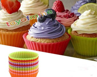 9X Silicone Muffin Case Round Cake Liner Cupcake Chocolate Cup Baking Mold Tool