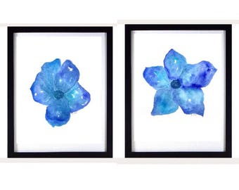 Blue Watercolor Flower Painting Set, Original Watercolor floral, Botanical matching wall art set, watercolor painting, home decor or nursery