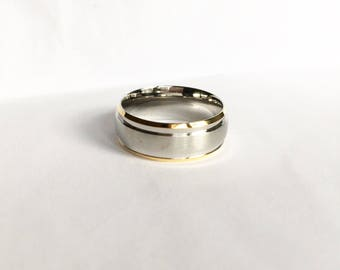 Gold Edge Stainless Steel Ring Blank for Stamping or engraving