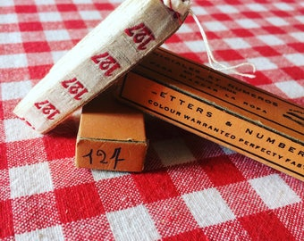 Old Ribbon laundress with number 127 woven thread. french antique ribbon. White and red. 1930's haberdashery.