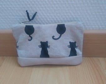 """Wallet """"MIAOU"""" with black cats"""