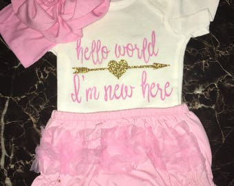 Hello World Custom Onesie + Diaper Cover and Headband
