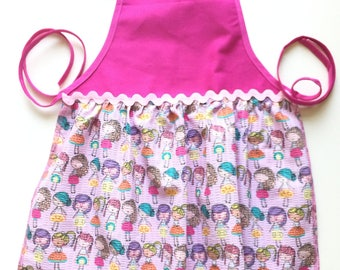Little Girl's Pink Friendship Print Apron