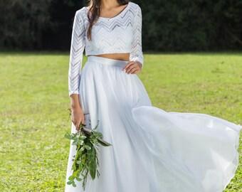 Wedding Dress, Bridal Separates,Two Piece Crop Top Dress , Wedding Dress Separates Long Sleeves Lace Top, bohemian wedding