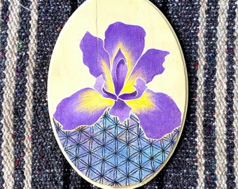 Iris Of Life Mixed Media Painting on Wood