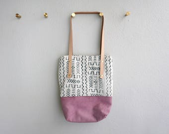 The Marrakech Mud Cloth Bag - Pink Leather, African Mud Cloth and Italian Linen Shoulder Bag