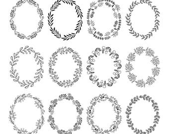 Set of 12 oval wreaths clipart. Flourish. Svg. Dxf. Png. Jpg. Eps.