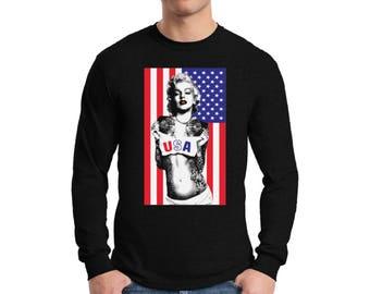 USA Merylin Monroe Long Sleeve Shirts for Men USA T shirts Tees American Flag Monroe shirt Fourth of July shirt