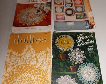 Vintage (4) Star Book for Crochet Doilies 1949, 1955, American Thread Company, Book # 44, 64, 120, 124
