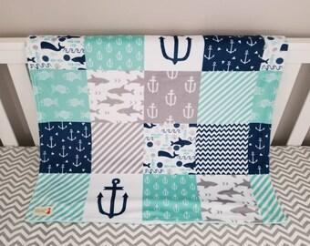 Nautical Minky Blanket - Grey, Stripes, Fish, Navy Blue, Anchor, baby shower gift, baby boy