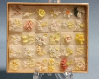 Hand Decorated Floral Sugar Cubes, Box of 30, Made in Calgary 1930's