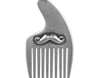 Pocket Sized Beard & Moustache Comb - Solid Pewter - Engraved with your initials! Perfect for keeping your beard in check on the go!