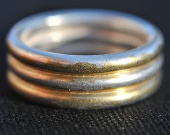 Handmade Trio Gold Plated Sterling Silver Ring UK Size-J London Hallmarked