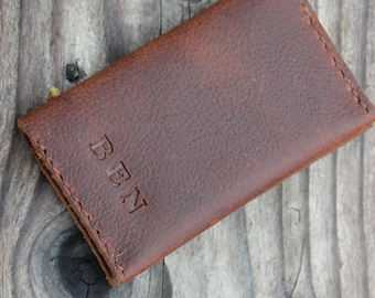 Oil tanned leather minimalist wallet