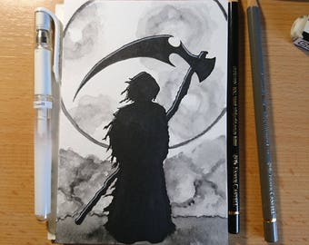 "Drawlloween original art ""Grim Reaper"" (postcard)"