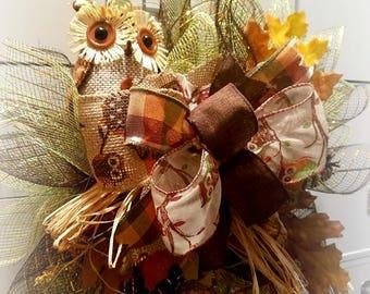 Fall Owl Wreath | Harvest Wreath | Thanksgiving Decor | Fall Wreath | Fall Decor | Owl Decor | Fall Wreath for Front Door | Autumn Wreath