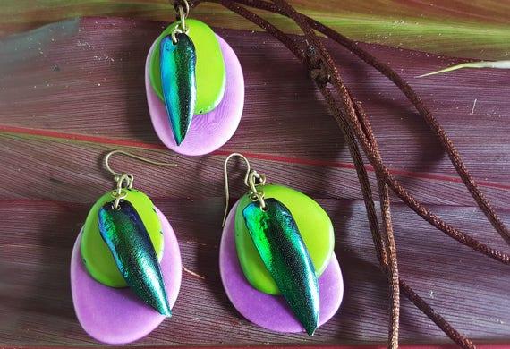 Layered Jewel Beetle Jewelry Set - Tagua Nut Necklace and Earrings - Jewel Beetle Wing Necklace and Earrings - Purple and Green Jewelry Set
