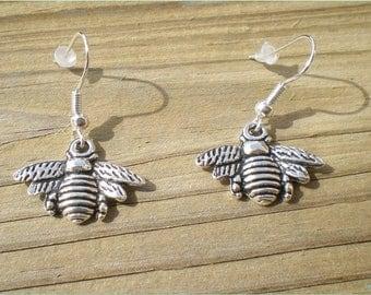Silver Bee Earrings, Insect Earrings, Nature Earrings, Jewelry Findings