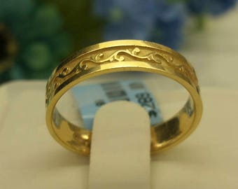 Gold Vine Wedding Band
