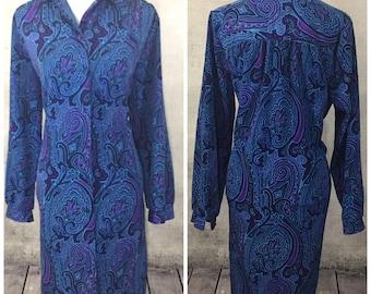 Vintage Paisley Shirt Midi Dress Womens