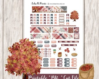Fall Printable Planner Stickers/Pocket Travelers Notebook/Monthly Kit/Annie Plans Printable/Fall October Glam Apple Pie Leaf Tree
