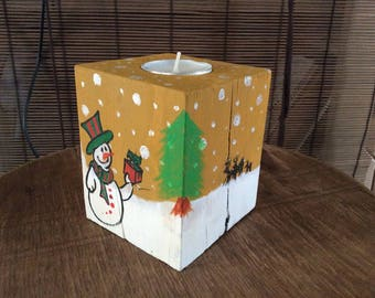 Christmas wooden candle holder