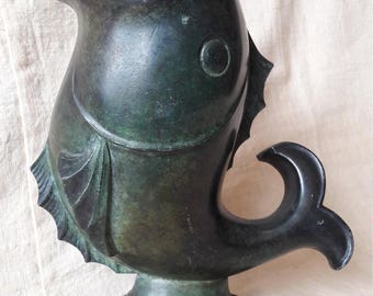 Art Deco vintage fish-shaped metal vase
