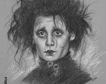 "Original portrait of ""Edward Scissorhands"" (Johnny Depp) 30 x 40 cm 12 x 16 """