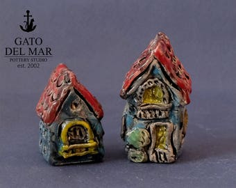 Two Houses - miniature pottery houses, Ceramic houses, Small clay houses, Tiny house