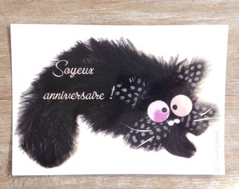Postcard with mischievous cat birthday card
