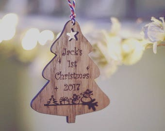 Personalised Babies First Christmas Wooden Decoration