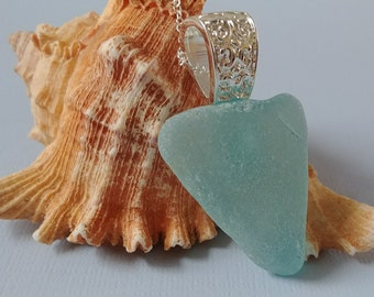 Genuine Maine Sea Glass Pendant Necklace - Chunky Soft Aqua