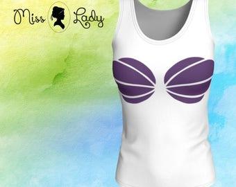 Purple Seashell Tank Top Loose Fit Ariel Little Mermaid inspired