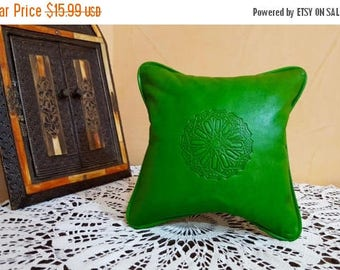 Moroccan leather pillow  handmade leather Pillows Green