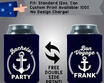 Bachelor Party Bon Voyage Name Collapsible Neoprene Bachelor Party Can Cooler Double Side Print (Bach74)
