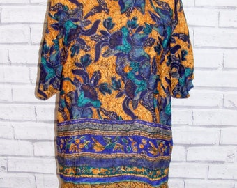 Size 16 vintage 80s batwing short sleeve tunic top floral hippy print (HY96)