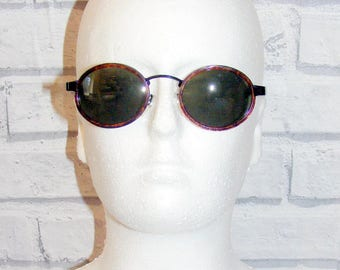 Vintage 80s deadstock sunglasses small round/oval tortoiseshell/metal (SG55)