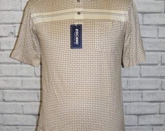 "Size S 38"" vintage 80s deadstock short sleeve polo shirt cream print BNWT (IA04)"