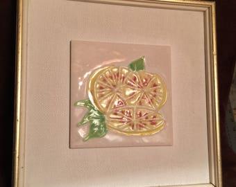 """Harris Strong #153 Framed Tile -""""Lemons"""""""