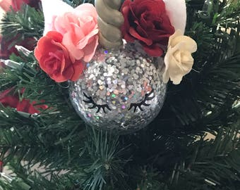 Unicorn Ornament, Glittered Ornament, Personalized, Unicorn Love