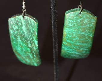 Unusual Handmade Green Jade Plastic Dangle Earrings