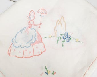 A Lovely White Linen Hand Embroidered Square Tablecloth - Crinoline Lady - Pastel