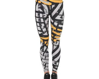 Orange Asphalt Workout Leggings