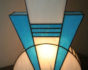 Lamp Art Deco stained glass Tiffany blue