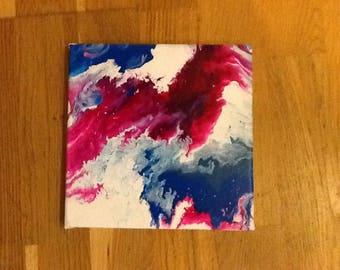 Acrylic pour / flow unique painting in blue, white, pink.