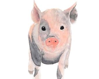 Pig Art, Nursery Animal Art, Pig Nursery, Nursery Animal Watercolor, Pig Wall Art, Pig Nursery Decor, Pig Painting, Piglet Art, Cute Pig