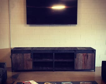 Modern industrial media console with reclaimed barn wood!!!